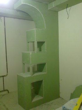 Готовая под отделку конструкция 'Евро' из гипсокартона. Процесс сборки сложной конструкции из гипсокартона. Двух-уровневый потолок из гипсокартона. Сделано ООО 'Русстрой' г. Калуга