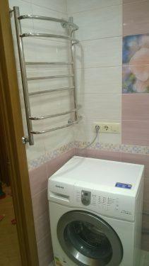 Установка сушилки на плитку в ванной. Ремонт ванной комнаты под ключ. Сделано Русстрой г. Калуга