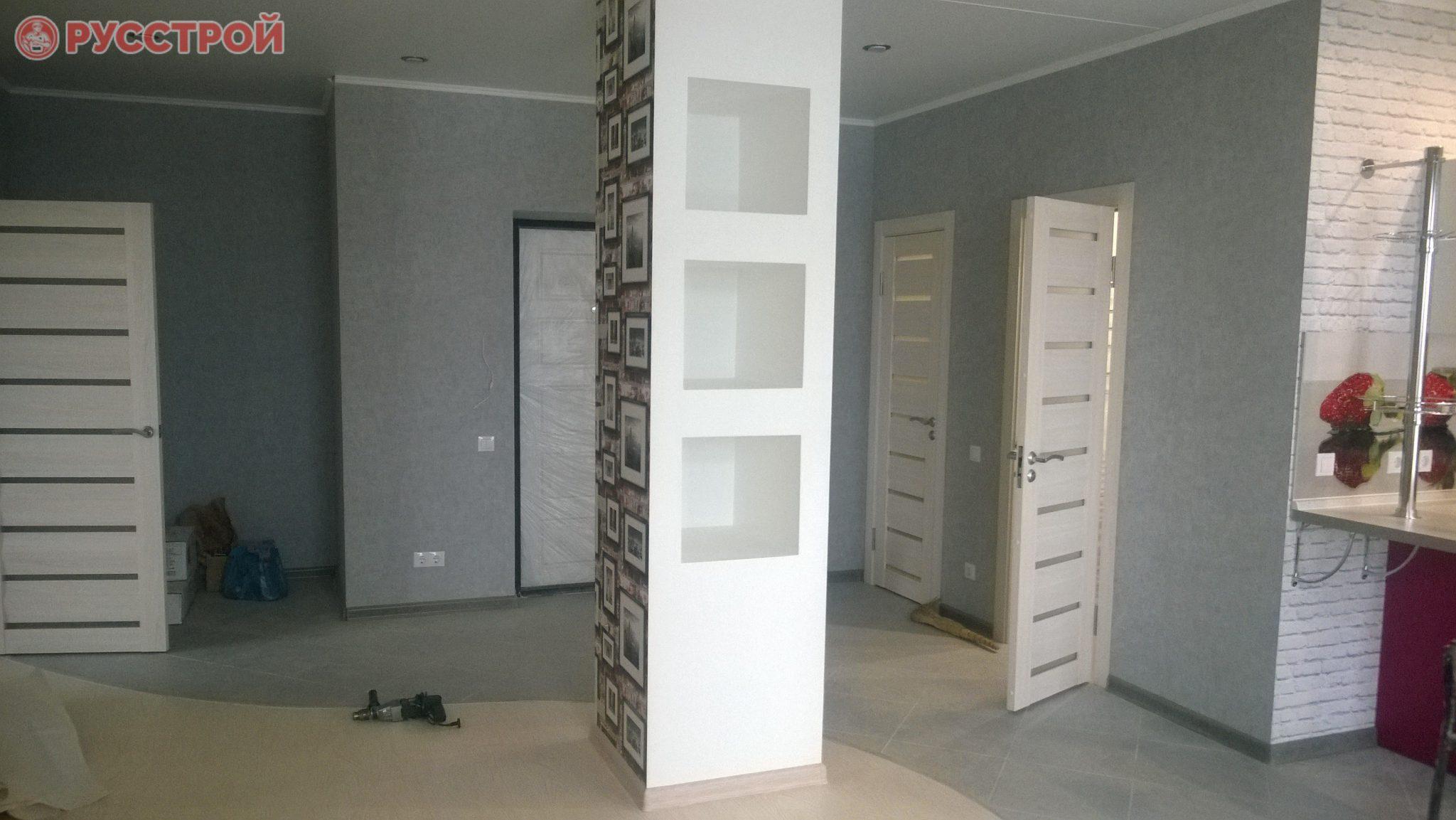 Установка декоративных колонн из гипсокартона в квартире. Русстрой г. Калуга