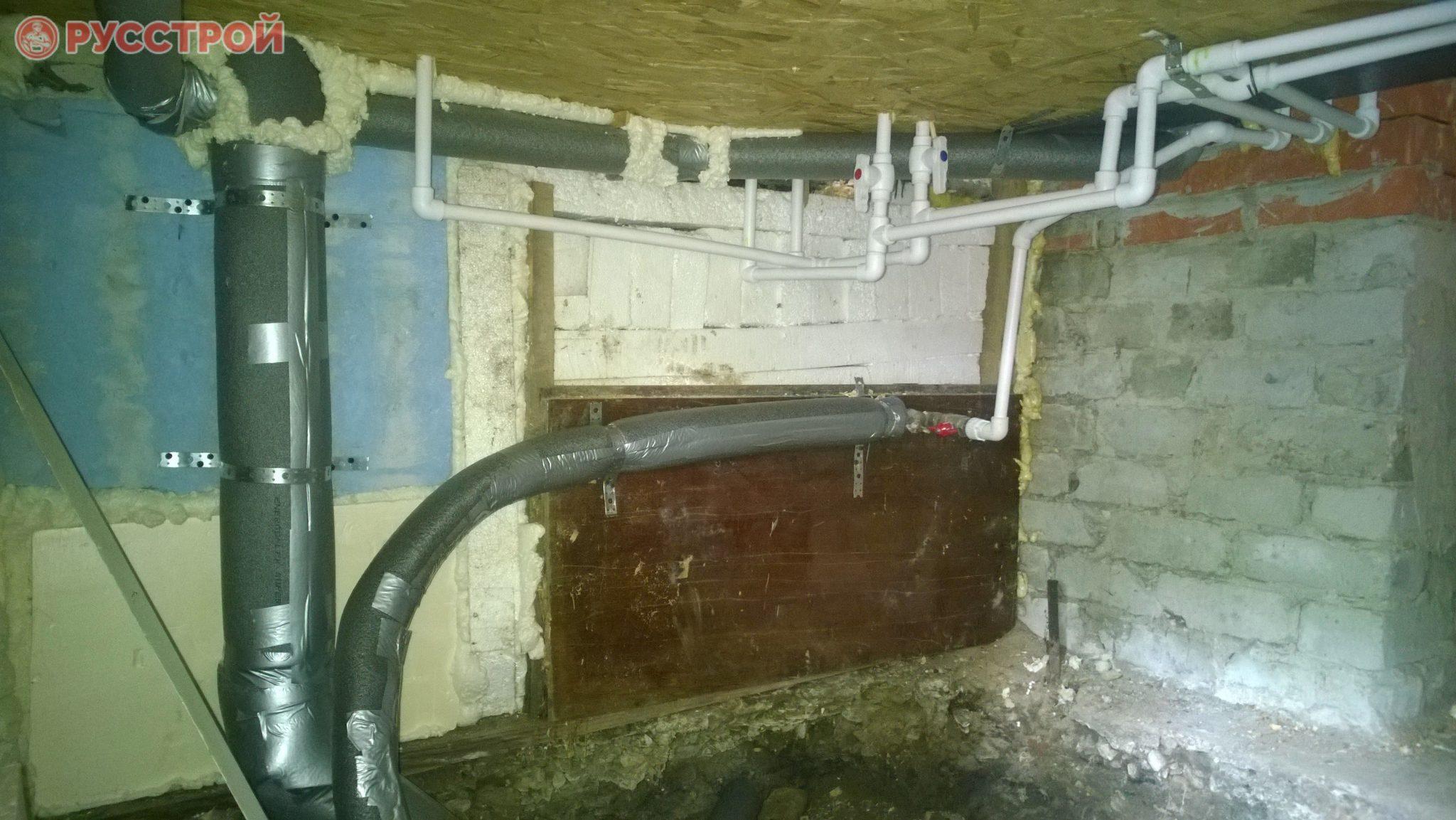 разводка труб в подвале