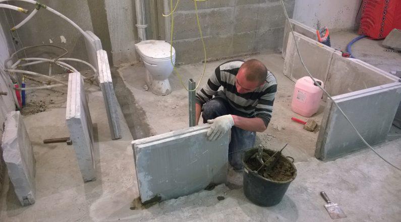 Возведение перегородок ванной и туалета