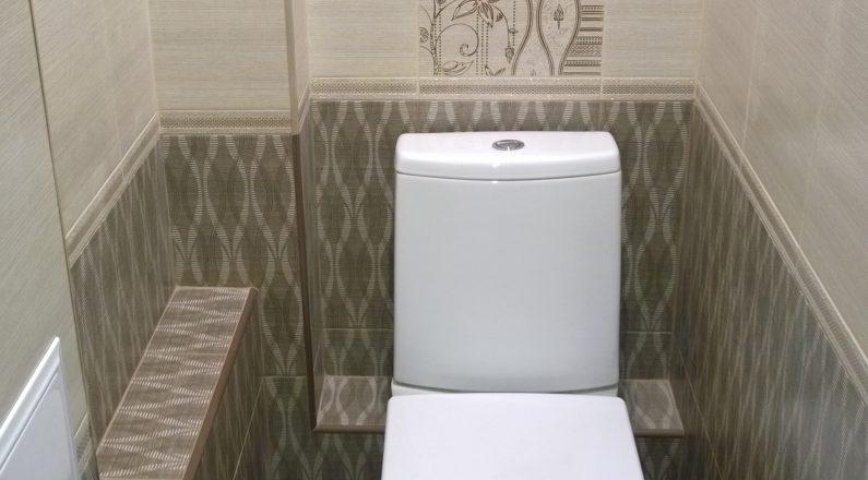 Туалет после ремонта, новая плитка, гипсокартон